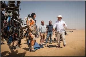 On location in Jordan, Ridley Scott directs Matt Damon, in THE MARTIAN.